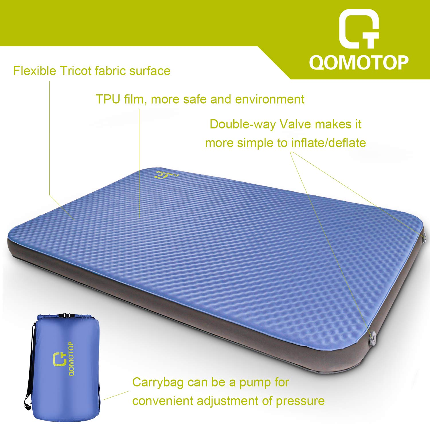 OT QOMOTOP Self Inflating Sleeping Pad 80in x 52in x 4in Thick Camping Pad PU Foam 24h Without Leaks Suitable for 2 People Lightweight 13.6lbs Level 3 Waterproof Travel Bag QTSID2