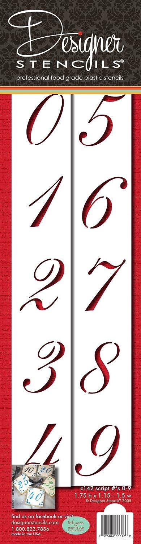 Beige//semi-transparent Designer Stencils C142 1.75 Inch Script Numbers Cake Stencils