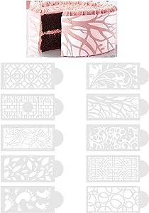 Cake Lace Decoration Stencil Set of 10 - Cake Decorating Templates Sugar Lace Mat Lace Fondant Molds DIY Valentine's Day Floral Pattern Decorative Edge Molding Baking Craft Tool, Food Grade