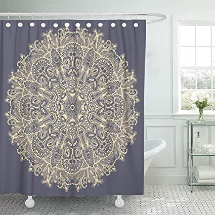 Shower Curtain Buddha Mandala Circle Spiritual Indian Symbol Of Lotus Flower Round Ornamental Lace Pattern Drawing