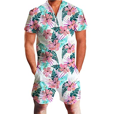 aad6e11f449 Flamingos Floral Print Rompers Men Short Sleeve 3D Jumpsuit Playsuit Harem  Cargo Overalls Summer FF05175 M