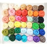 QICI Set of 50 Colors, Wool Roving Fibre Wool Yarn Roving For Needle Felting Hand Spinning DIY (50 Pack)