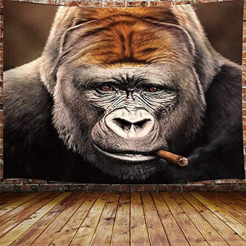 Funny Animals Tapestry, Hippie Cool Gorilla Smoking Cigar Tapestry Wall Hanging for Bedroom, Wild Animal Orangutan Tapestry Home Decor 90 W X 70 H