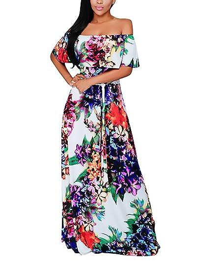 Vestidos De Fiesta Mujer Vestido Largo De Noche Elegantes Hombro Descubierto Cuello Barco Volantes Vintage Estampado Floral Chic Verano Vestido De Fiesta: ...