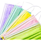 LUCIFER 100Pcs Multicolor Disposable Face Masks, 3 Layers Facial Safety Masks with Adjustable Elastic Ear Loop…