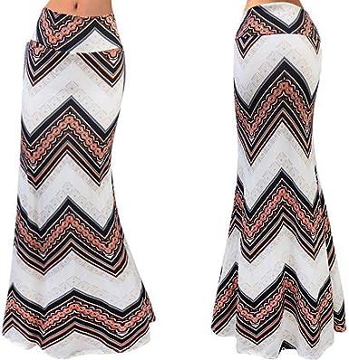 Carsge Media Falda de Mujer Falda de Rayas largas Falda de Mujer ...