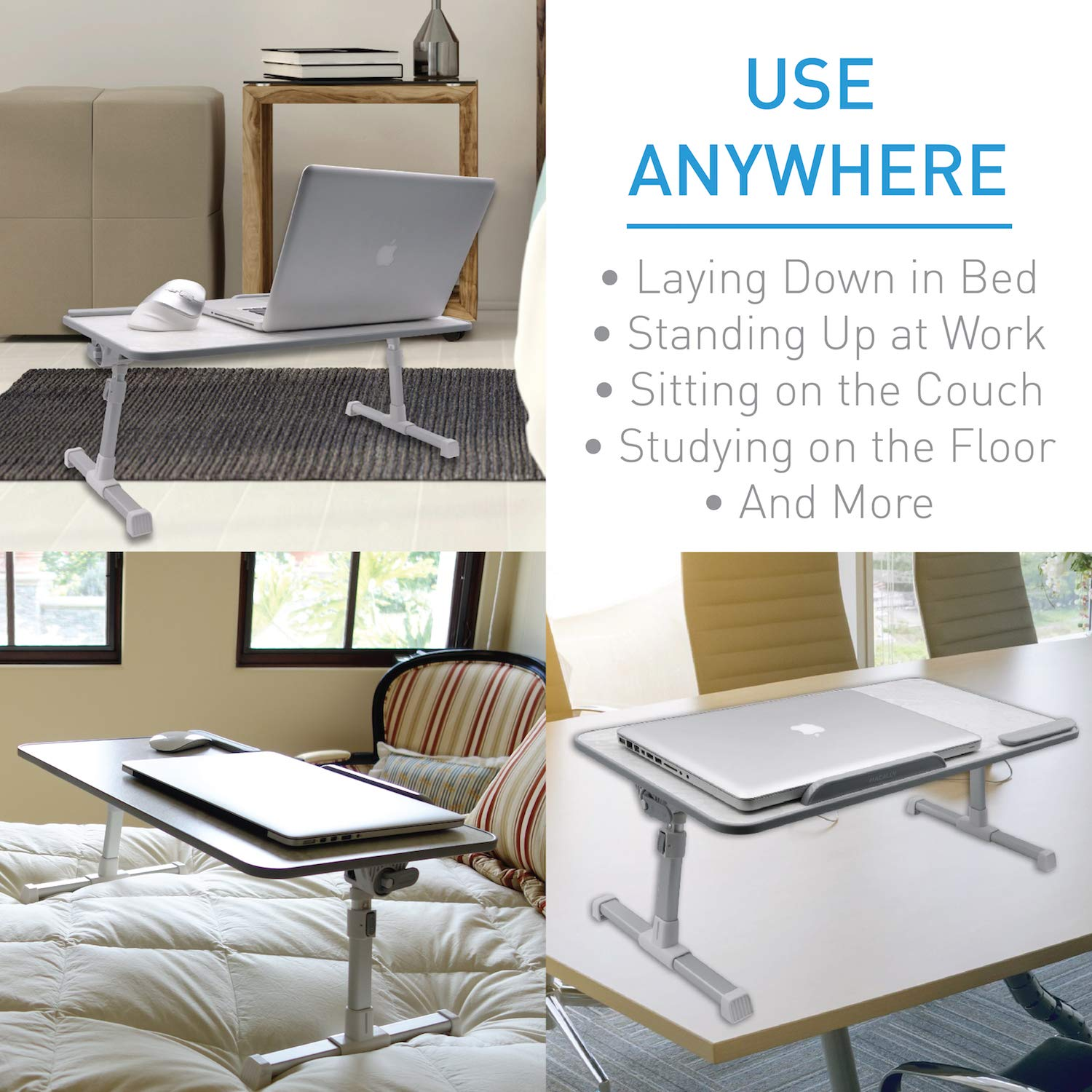 Macally Portable Laptop Table for Bed, [Large Size] Foldable & Height Adjustable Laptop Stand for Table - Sofa, Couch, Recliner - Folding Breakfast Tray Table with Legs, Notebook Lap Holder (Marble) by Macally (Image #2)