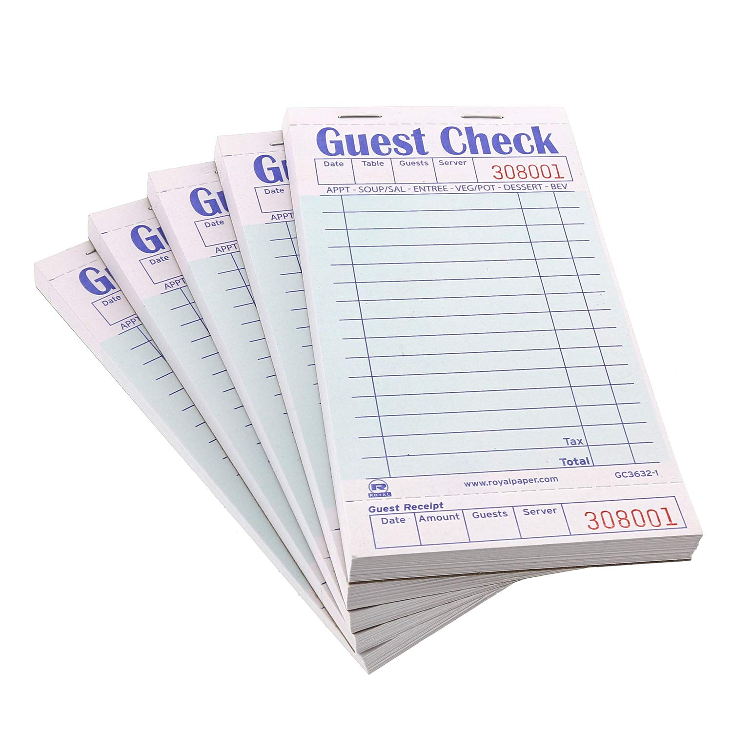 Royal Green Guest Check Board, 1 Part Booked with 15 Lines, Case of 50 Books