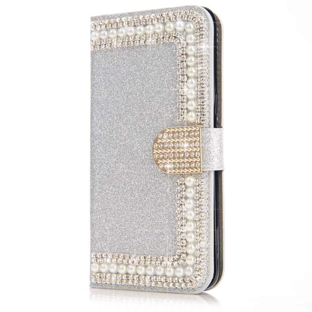 Okssud Coque Samsung Galaxy S5 Glitter Strass, Portefeuille Flip Case pour Galaxy S5 Housse à Rabat Portefeuille PU Cuir Luxe Bling Glitter Paillettes Étui de Protection avec Fentes DYY2018002430#01