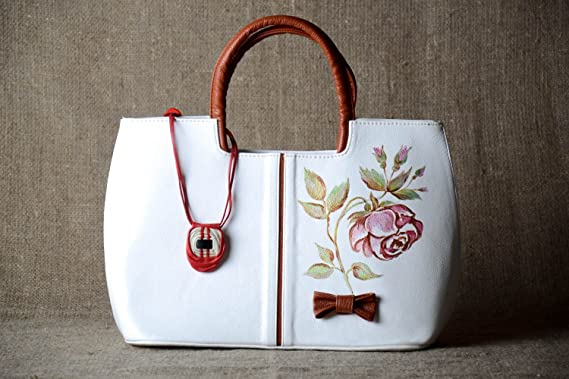 Bolso hecho a mano pintado con rosas accesorio de mujer ...
