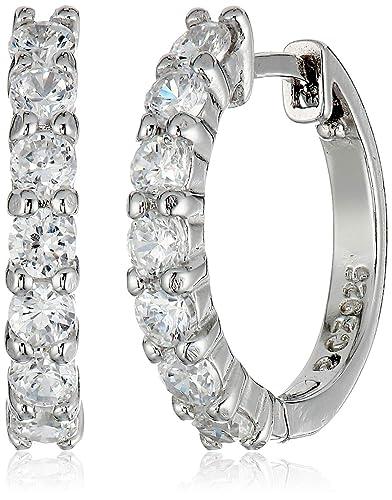 f16173f2d3b0d Amazon Essentials Plated Sterling Silver Hinged Huggie Hoop Earrings