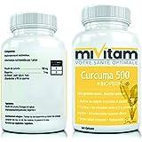 CURCUMA 500 + BIOPERINE: Antioxydant Puissant, Absorption Supérieure, Anti-inflammatoire Efficace - COMMANDEZ 2 POUR LIVRAISON GRATUITE