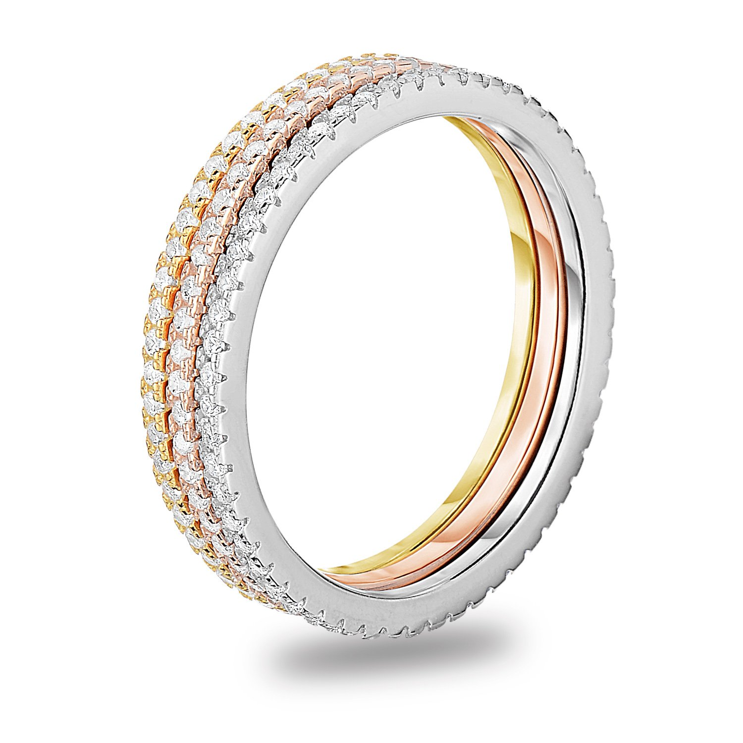 Tri Tone Plated 925 Sterling Silver Cubic Zirconia 3pcs Stackable Stacking Ring Wedding Eternity Band, Size 7