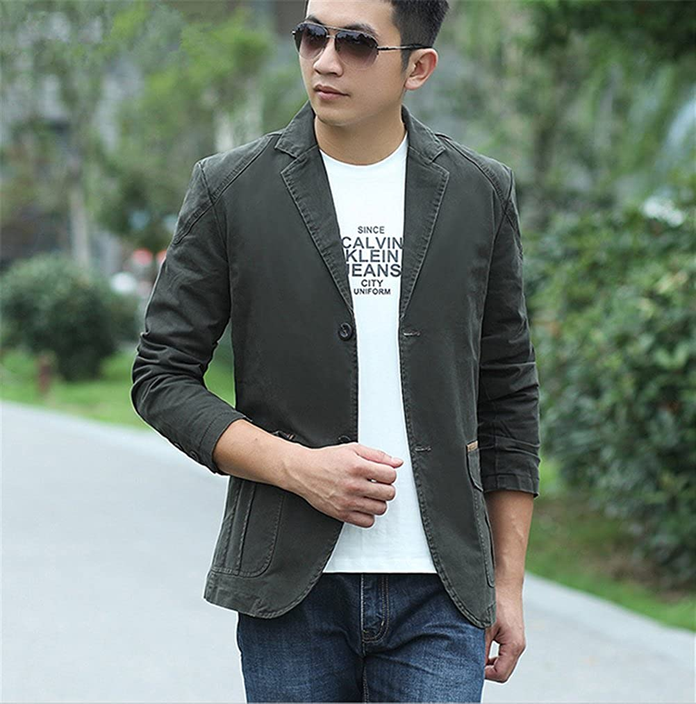 WS668 Mens Casual Classic Suit Blazers Jacket Stand Collar Cotton Fashion Softshell Coats