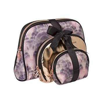 b8bcd9f9f Amazon.com : Adrienne Vittadini Cosmetic Makeup Bags: Compact Travel  Toiletry Bag Set in Small, Medium and Large for Women and Girls - Black and  Purple ...