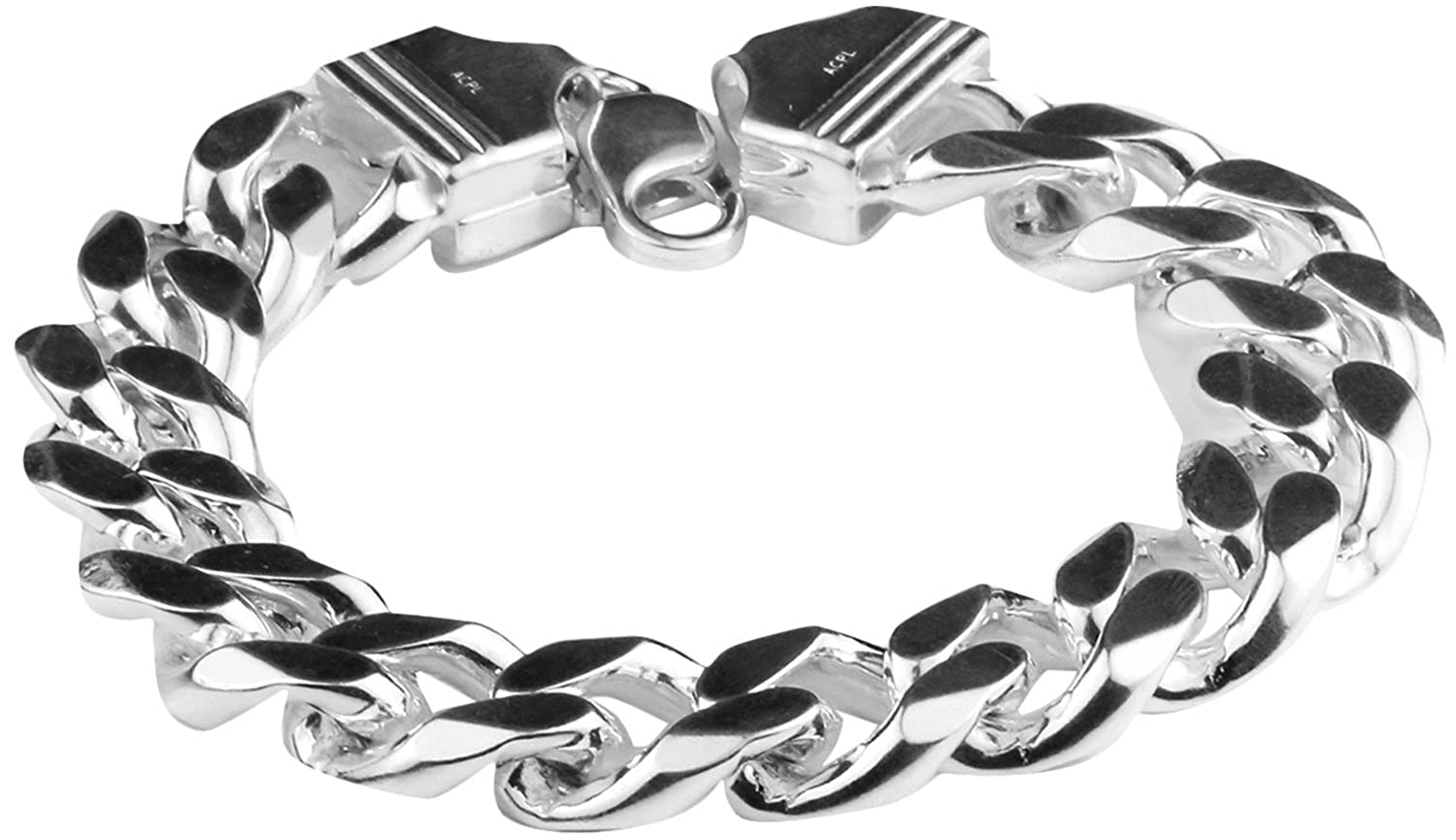 0fe8d159a78da9 Swank Silver Arisidh Genuine Thick 92.5 Pure Sterling Silver Bracelet For  Men And Boys: Amazon.in: Jewellery