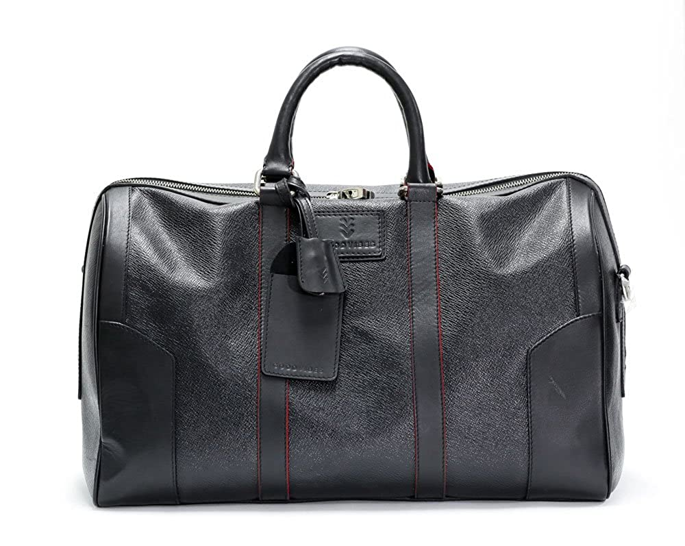Good Vibe Mens Black Genuine Leather Carry On Travel Duffel Weekender Luggage Travel Bag Cow Leather