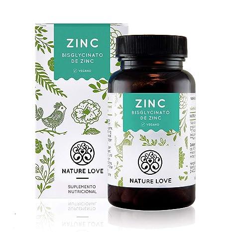 NATURE LOVE® Zinc - 365 comprimidos por un inventario del año. 25 mg de zinc. Gran biodisponibilidad de bisglicinato de zinc. Altamente concentrado, ...