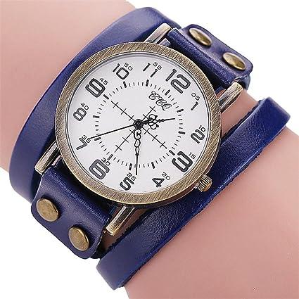 Xinantime Reloje Mujeres Hombres,Xinan Vintage Reloj de Pulsera de Cuero Artificial (Azul)
