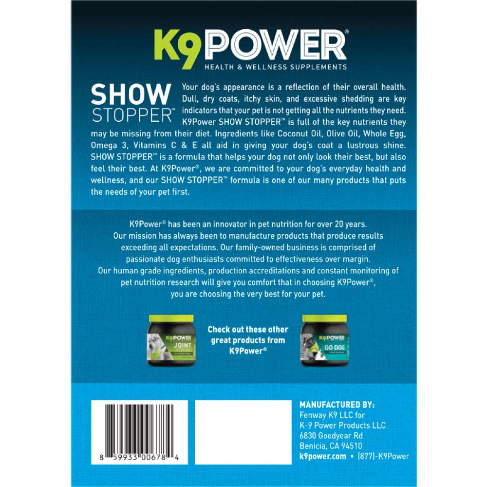 K9-Power Show Stopper - Healthy Dog Coat and Skin Formula to Improve Health and Appearance - 8 Pound by K9-Power