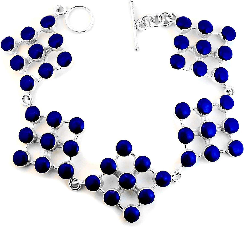 Calani Pulsera Artesanal de Plata 925 con Cuadros y Puntos de Piedra Color Azul, Hecha en el Pueblo de Taxco, México. Largo: 20.5cm (Ajustable). Peso 26.20g.