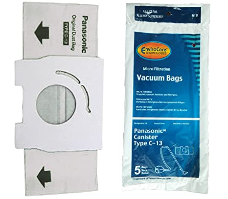Panasonic Type C-13, MC-3900, AMC-S5EP Canister Vacuum Cleaner 5 Pk Paper Bags # 818