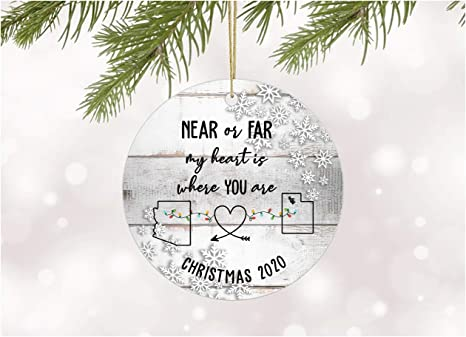 3 inch Flat Stainless Steel Long Distance Love Decoration for Xmas Holidays Celebration Side by Side Or Miles Apart Family Will Always be Close at Heart Elegant Chef Family Christmas Ornament Gift