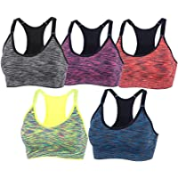 YEYELE Women 1or 3 or 5 Pack Adjustable Strap and Removable Pad Tank Top Racerback Sports Bra