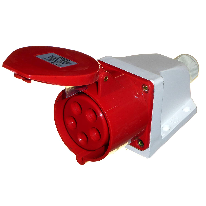 para maquinaria de herramientas el/éctricas 5 pines 3P+N+E Enchufe de 16 A y enchufe de pared 16 A 3 fases 380-415 V para interior//exterior IP44 rojo