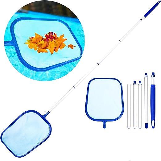 Familybox Red de Piscina, Skimmer Recoge Hojas Recogehojas para Pisina con Barra telescópica de Aluminio Desmontable 1.2m Juego de Limpieza para Elimina Todos Los Escombros: Amazon.es: Jardín
