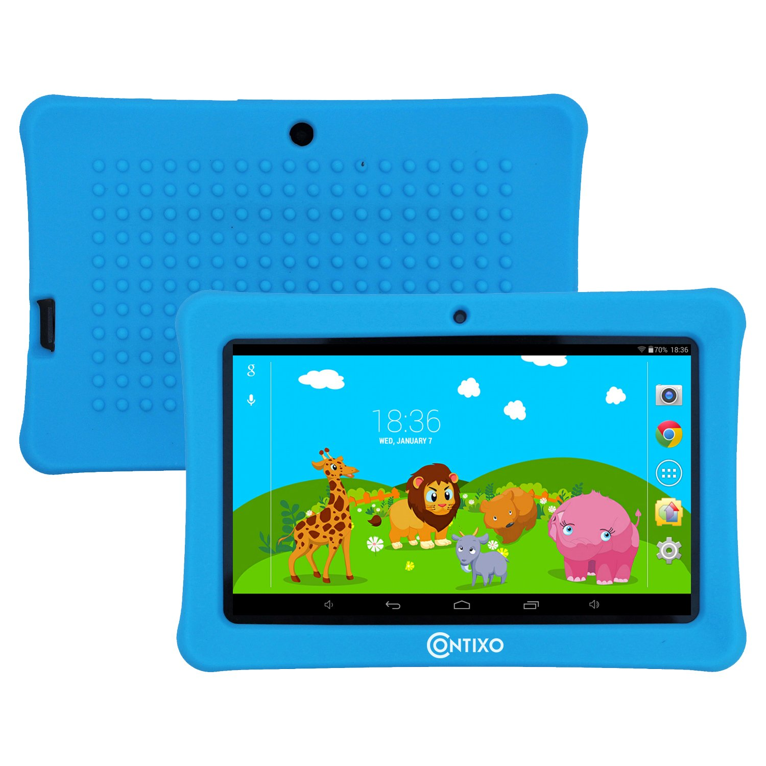 HOLIDAY SPECIAL! Contixo Kids Safe 7'' Tablet 8GB, Bluetooth, Wi-Fi, Cameras, 20+ Free Games, HD Edition w/ Kids-Place Parental Control, Kid-Proof Case (Blue) - Best Gift For Christmas