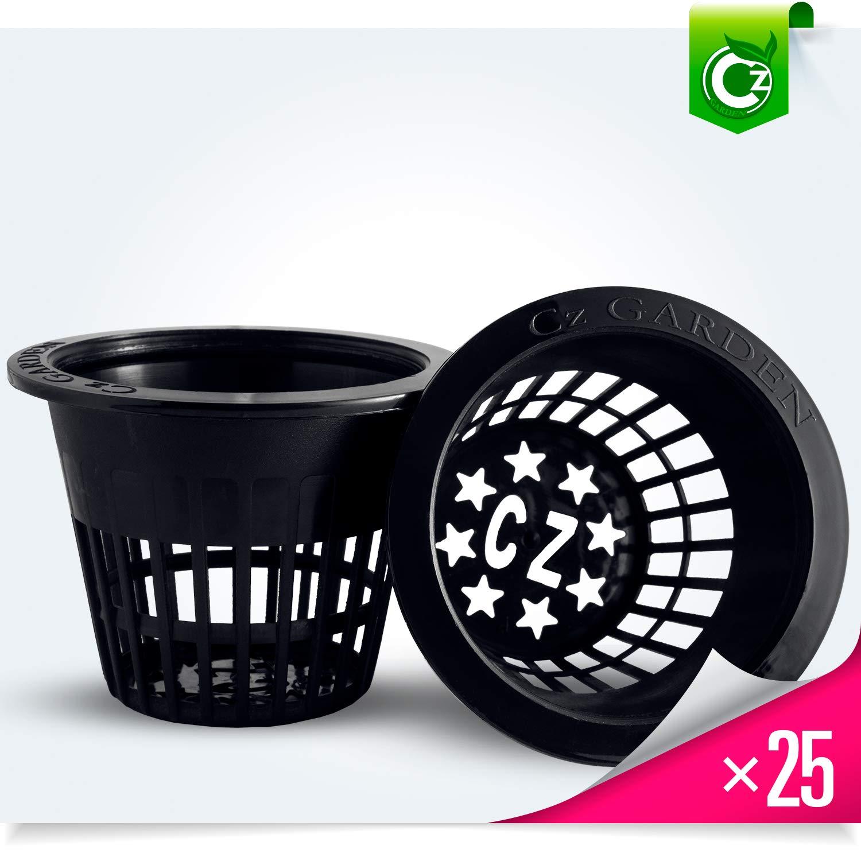 3 inch Net Pots Super Heavy Duty Cups Wide Lip Design - Orchids • Aquaponics• Hydroponics Slotted Mesh (3 inch Cz All Star Net Pots - 25 Black)