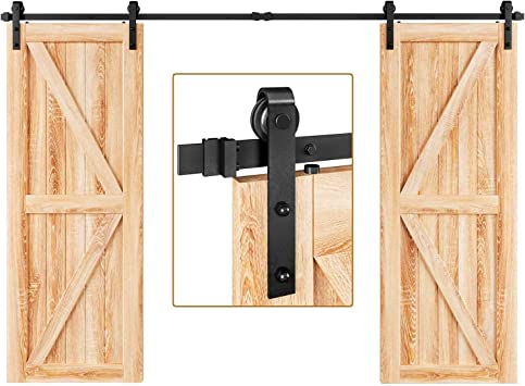 Amazon Com Easelife 10 Ft Double Door Sliding Barn Door Hardware Kit Heavy Duty Ultra Hard Sturdy Easy Install Slide Smoothly Quietly Fit Double 30 Wide Door 10ft Track Double Door Kit Home Improvement