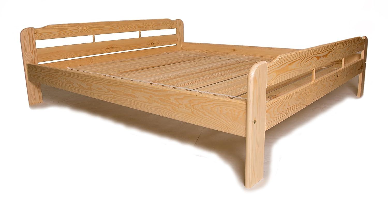 Doppelbett mit Lattenrost aus Kiefer massiv - 200x200 cm ✓ Leichter ...