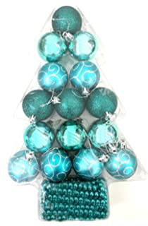 16 piece tree decoration set teal turquoise modern colours christmas festive tree hanging xmas glitter baubles