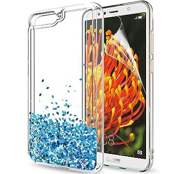LeYi Funda Huawei Y6 2018 Silicona Purpurina Carcasa con HD Protectores de Pantalla,Transparente Cristal Bumper Telefono Gel TPU Fundas Case Cover ...
