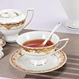 Porlien Exquisite Gold Teacups/Coffee Cups & Saucers Set of 6, Trimmed with Red, Porcelain, for Teatime, Tea Parties-Gift Box Packing