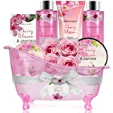 Bath Set for Women - Body&Earth 8 Pcs Gift Basket with Cherry Blossom & Jasmine Scent, Includes Bubble Bath, Shower Gel, Body