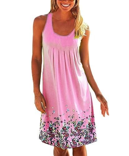 Yidarton Women's Summer Casual Loose Mini Dress Print Pleated Sleeveless Sundress A-Line Beach Dress...