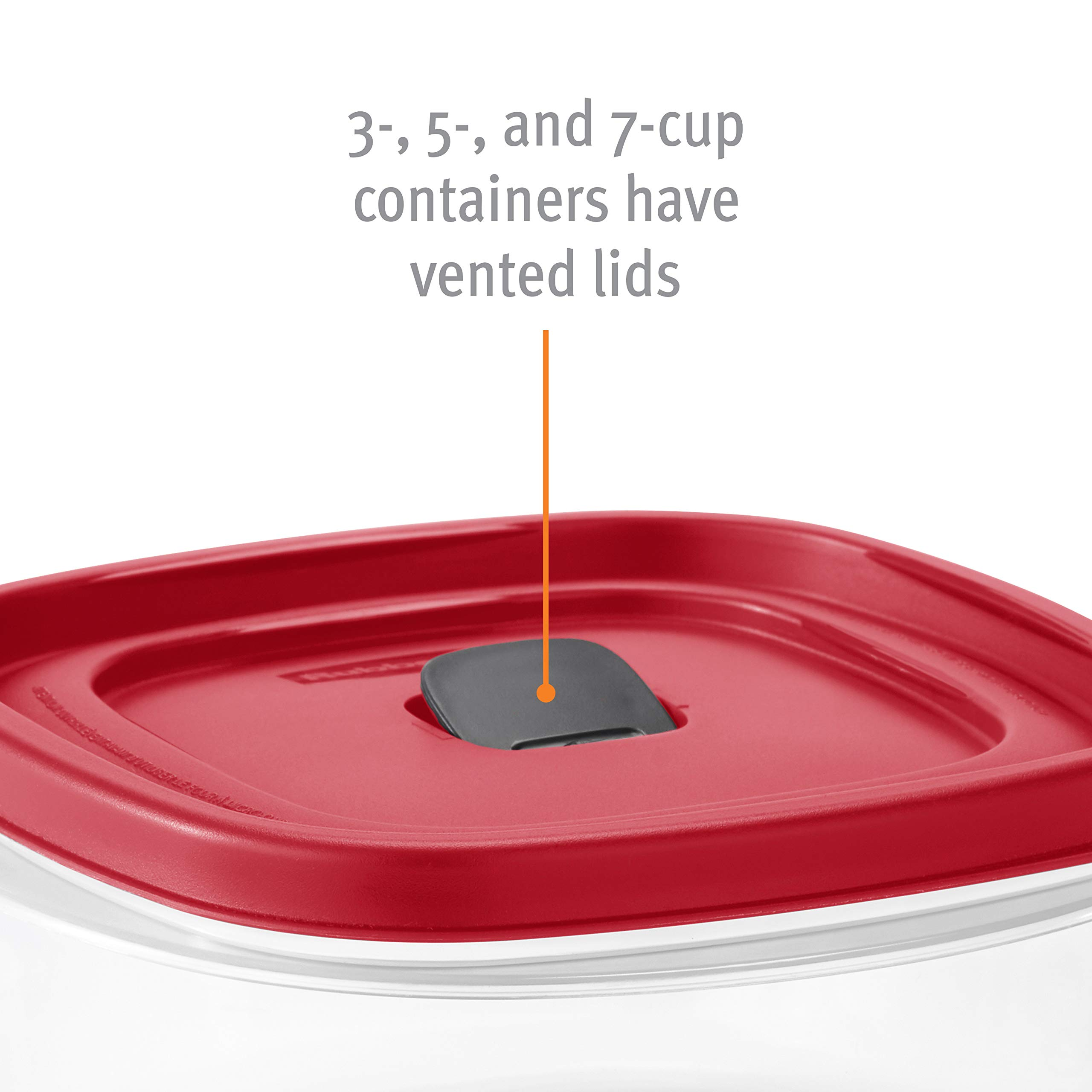 Rubbermaid 2063704 Easy Find Vented Lids Food Storage Container, 42pc New, Racer Red by Rubbermaid (Image #7)