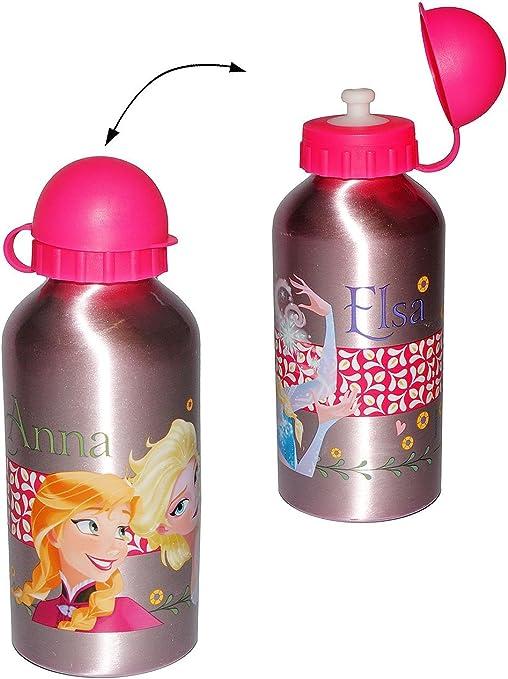 Dedimi Bouteille deau pour enfants La Reine des neiges 2 bouteilles deau en aluminium /étanche avec bec et bouchon de s/écurit/é Rose avec bouchon bleu 400 ml
