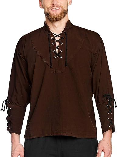 Camisa de pirata con cuello alto, estilo gótico medieval, azul 1605: Amazon.es: Ropa y accesorios