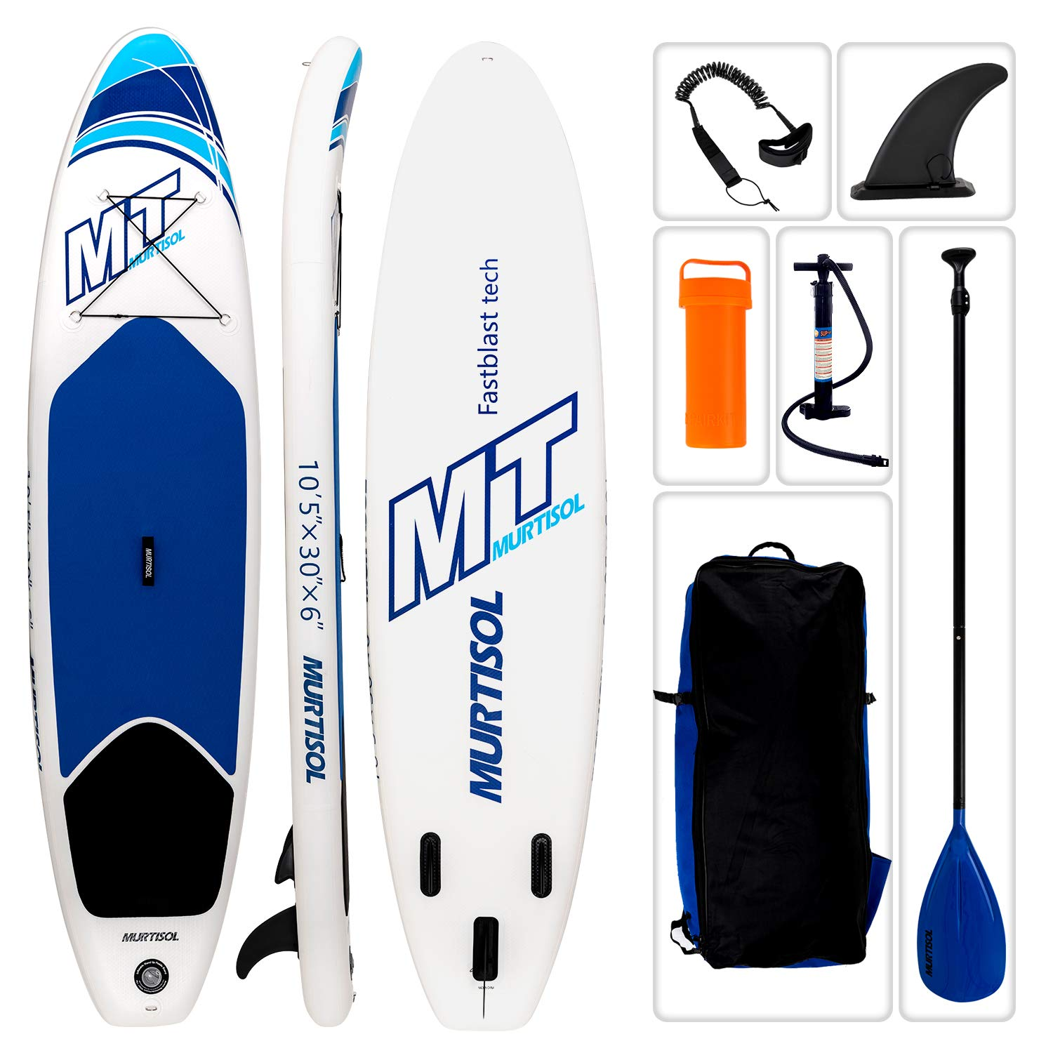 Murtisol 10'5'' Inflatable Stand Up Paddle Board(30in Width), Ultra-Thick Durable PVC, Non-Slip Deck, Premium SUP Accessories, Dual-Action Pump, Safety Ankle Strap, Adjustable Paddle, Blue by Murtisol