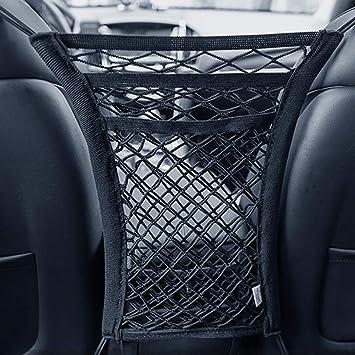 Seat Back Cargo Net Bag Pouch Barrier of Backseat Pets Kids 4 Pack Car Vehicle Back Seat Headrest Hook 3-Layer Car Mesh Organizer Storage Tissue Purse Handbag Holder Driver Storage Netting Pouch