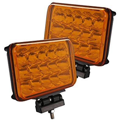 Lightronic 4X6 Inch Rectangular 45W 4500 Lumens 3000K Amber LED-Off Road Fog & Driving Light (2 Pack): Automotive