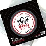 """Vinyl Fever (25 Pack) High-Density 3 Mil Outer Record Sleeves for Storage of Standard 12"""" LP Records and Albums - Crystal Clear Polypropylene LP Covers…"""