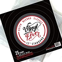 """Vinyl Fever High - Density 3 Mil Outer Record Sleeves for Storage of Standard 12"""" LP Records and Albums - Crystal Clear…"""