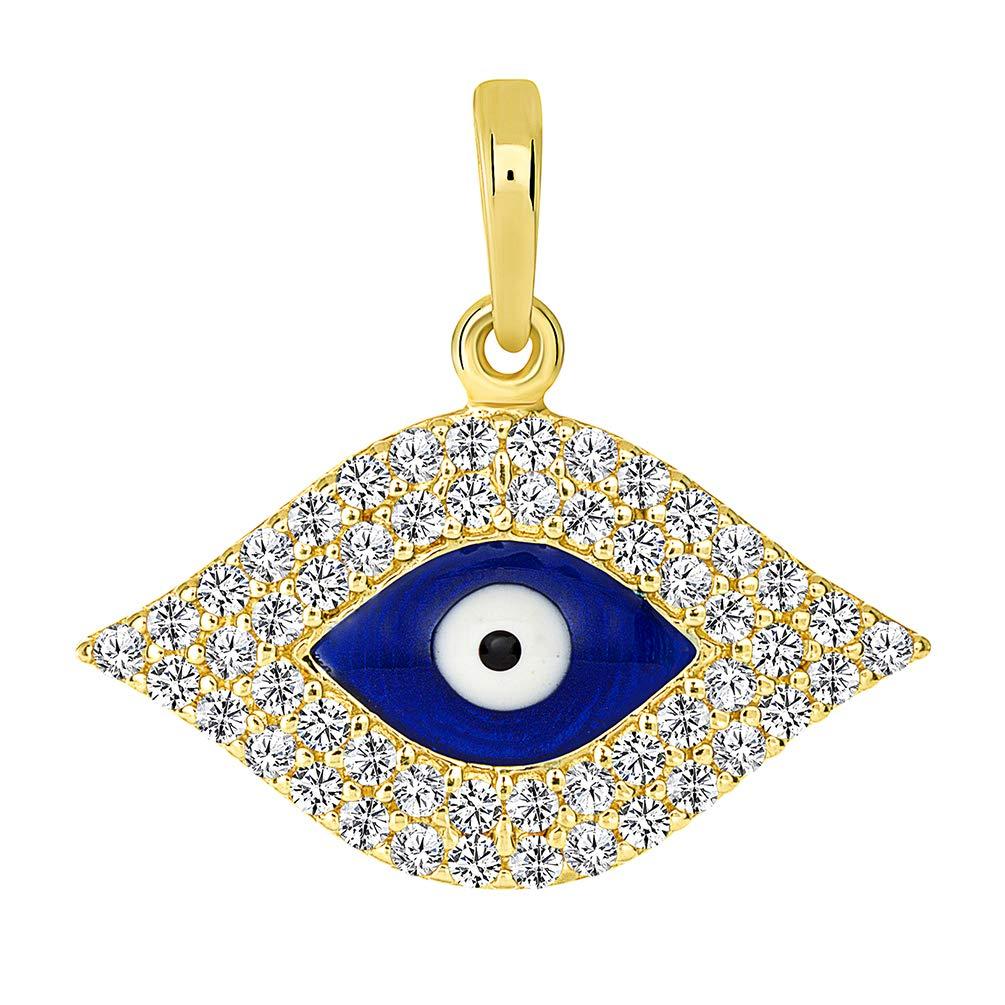 14k Yellow Gold CZ Elegant Evil Eye Protection Pendant