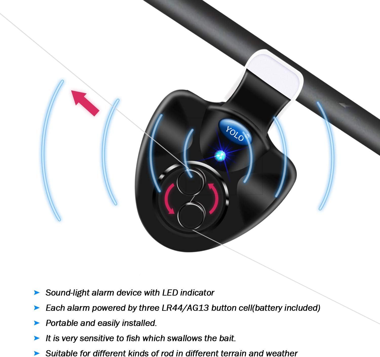 2Pcs Black Electronic LED Light Fish Bite Sound Alarm Bell Clip On Fishing RodIN