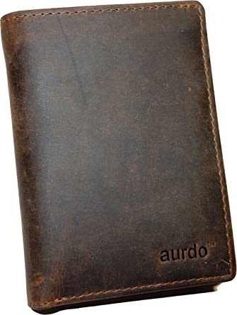 5703880b7bb3f AurDo RFID Blocking Mens Leather Trifold Wallet With ID Window (Hunter  Natural Brown)